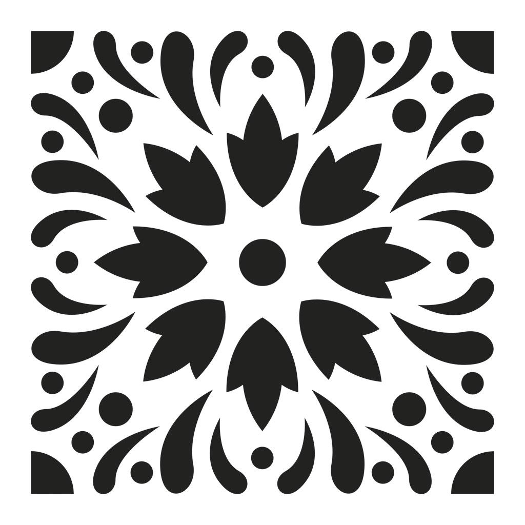 Stencil Decorativo Modello Medio 15x15 Cm Piastrelle