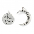 Pendente complementare I love you... to the moon 23 mm Argento 925 x1
