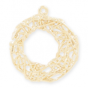 Pendente in ottone con filo intrecciato 22 mm light gold HQ