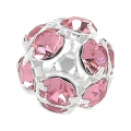 Palla Strass mm. 10 argentata Light Rose