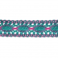 Merletto uncinetto 25 mm Green Turquoise/Fuchsia x1m