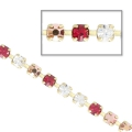 Catena strass in cristallo tagliato in ottone 2.10 mm Crystal/Rose Gold/Ruby Ottone x50cm