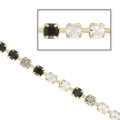 Catena strass in cristallo tagliato in ottone 2.10 mm Jet/Black Diamond/Crystal x50cm