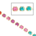 Catena strass in cristallo tagliato in ottone 2.10 mm Blue Zircon/Rose/Fuchsia/Hyacix50cm