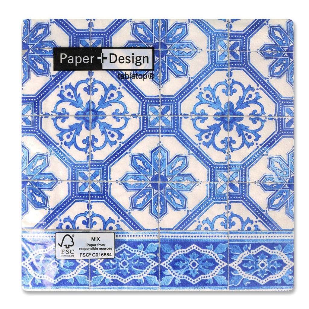 Tovaglioli Di Carta Azulejos 33 Cm Blu X20 Perles Co