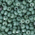 Perle in vetro Rep. Ceca Micro Spacers 2x3 mm Op Green Ceramic Look x50