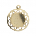 Pendente medaglione 13 mm per cabochon retro piatto 8 mm Gold filled 14 carati