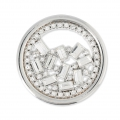 Cabochon in metallo 33 mm con strass - Traforato - rodiato  x1