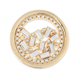 Cabochon in metallo 33 mm con strass - Traforato - dorato x1