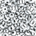Perle in vetro (Rep. Ceca) Fizgig - Fiori Vintage 6 mm Opaque White Black x30