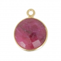 Pendente  12mm castone Argento 925 Placcato oro/Dyed Ruby