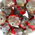 Perline in vetro Saturn Beads 11x10 mm Red Coral/Light SiamTravertin x10