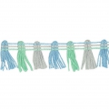 Nastro pompons Multicolore 20 mm Mint / Baby Blue / Gris x1m