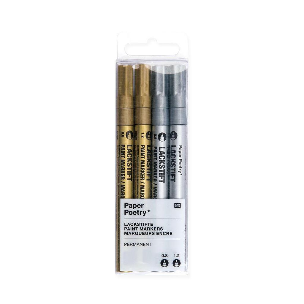 lackstift 4 pennarelli 0 8 mm e 1 2 mm paper poetry dorato perles co. Black Bedroom Furniture Sets. Home Design Ideas