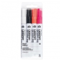 LACKSTIFT - 4 Pennarelli 2 mm - Paper Poetry - Nero/Bianco/Rosa Fluo/Arancione Fluo