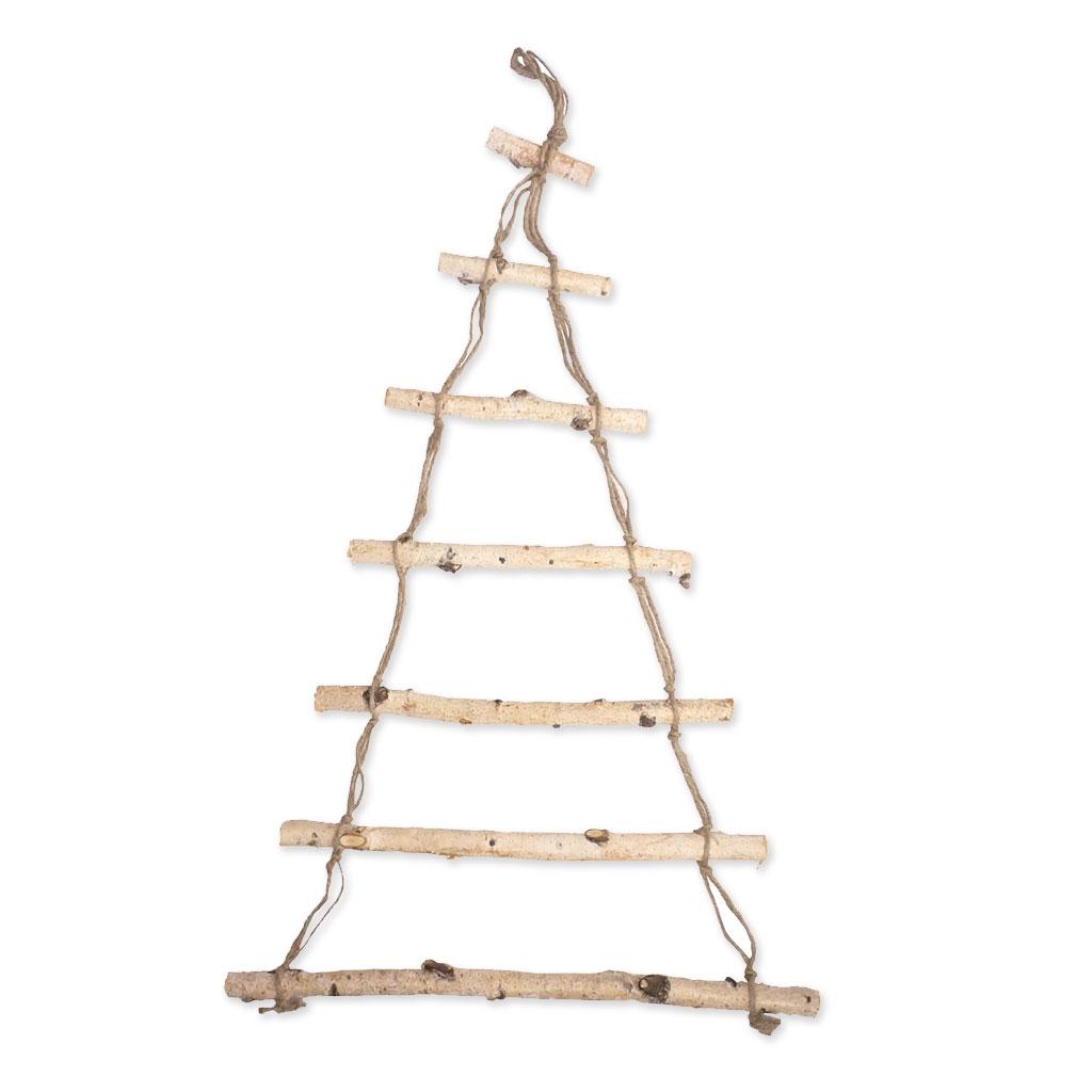 Sospensione da parete in legno grezzo 80 x 50 cm albero - Nastri decorativi per albero di natale ...