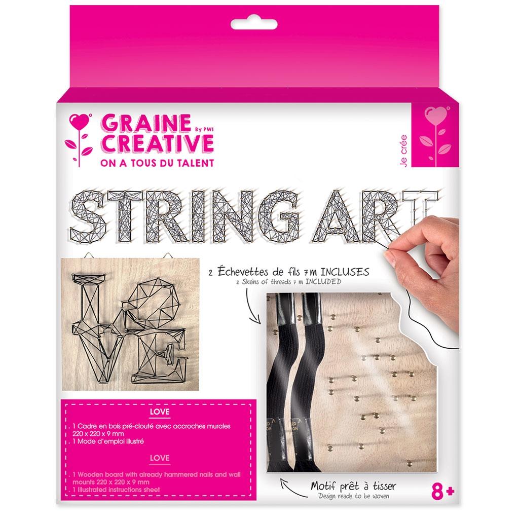 kit string art love forma quadrata legno grezzo 22x22cm per la d perles co. Black Bedroom Furniture Sets. Home Design Ideas