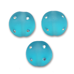 Palla Disco mm. 8 Aquamarine strass Crystal AB x1