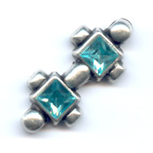 Separatore strass 3 file mm. 22 Aquamarine x1
