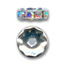 Rondelle Strass mm. 5 argentato/Crystal AB x4