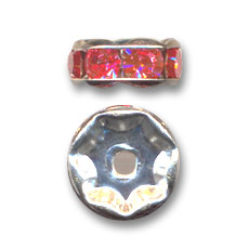 Rondelle Strass mm. 5 argentato/Padparadscha x4